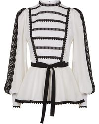 Andrew Gn - Embroidered Balloon Sleeve Silk Blouse - Lyst