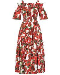 Dolce & Gabbana Poppy Print Ruffle Cotton Midi Dress