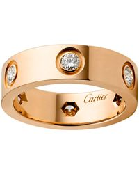 Cartier - Pink Gold And Diamond Love Ring - Lyst