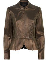 St. John - Pleated Peplum Leather Jacket - Lyst
