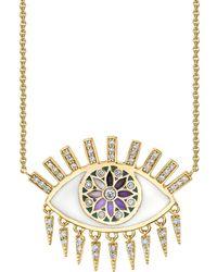 Sydney Evan - Yellow Gold Kaleidoscopic Eye Necklace - Lyst