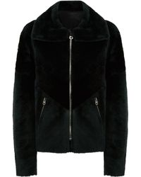 Sandro - Collared Shearling Jacket - Lyst