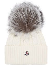 5ea9d9a4a1d Moncler Fox Fur Bobble Hat in Black - Lyst