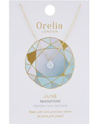 Orelia - June Birthstone Necklace - Lyst