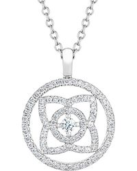 De Beers - White Gold And Diamond Enchanted Lotus Openwork Pendant - Lyst