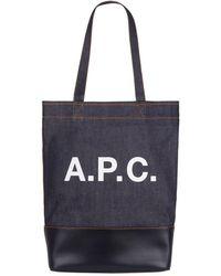 A.P.C. - Logo Denim Tote Bag - Lyst
