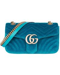 a30c3cb4b9d Gucci GG Marmont Velvet Small Shoulder Bag in Natural - Lyst