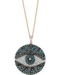 Bee Goddess - Black And Blue Diamond Eyelight Necklace - Lyst