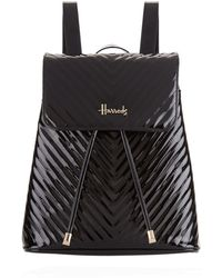 Harrods - Patent Chevron Backpack - Lyst