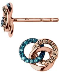 Links of London - Rose Gold And Diamond Treasure Earrings - Lyst