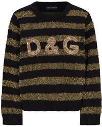 Dolce & Gabbana - Metallic Stripe Logo Jumper - Lyst
