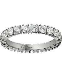 Cartier - Small Platinum And Diamond Destine Ring - Lyst