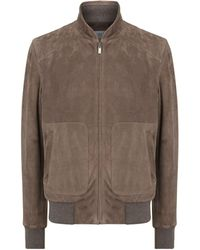 Canali - Suede Bomber Jacket - Lyst