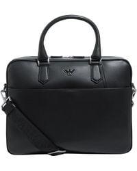 Emporio Armani - Leather Eagle Briefcase - Lyst