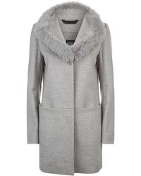 Cinzia Rocca - Fox Fur Trim Wool Coat - Lyst
