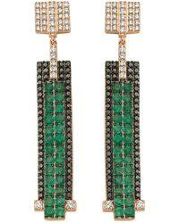 Bee Goddess | Mondrian Diamond And Emerald Earrings | Lyst