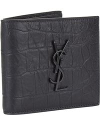 Saint Laurent - Monogram Crocodile Effect Wallet - Lyst