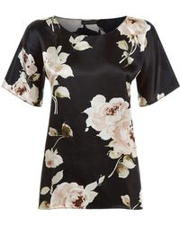 Rosamosario | Rosa Ss Top Silk Satin Lurex Blk Lace | Lyst