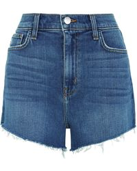 L'Agence - Ryland High Waist Denim Shorts - Lyst