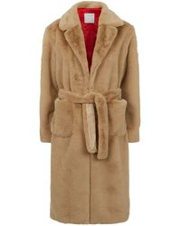 Sandro - Belted Faux Fur Coat - Lyst