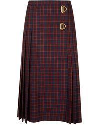Burberry - Arroux Check Print Pleated Wool Skirt - Lyst