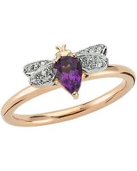 Bee Goddess - Rose Gold Diamond And Amethyst Queen Bee Ring - Lyst