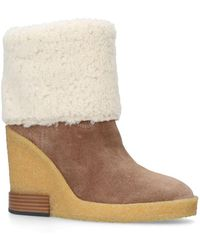 Tod's - Suede Wedge Boots 85 - Lyst