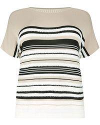 Marina Rinaldi - Striped Cotton Sweater, White, Xl - Lyst