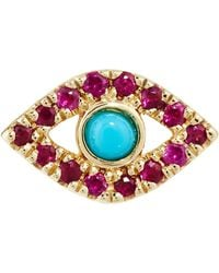 Sydney Evan - Yellow Gold, Rubies And Turquoise Evil Eye Earring - Lyst