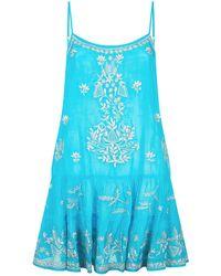 Juliet Dunn - Embroidered Silk Camisole Dress, Blue, 1 - Lyst