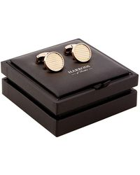 Harrods | Ribbed Round Rose Gold-plated Cufflinks | Lyst