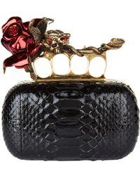 Alexander McQueen - Python Rose Knuckle Clutch, Black, One Size - Lyst
