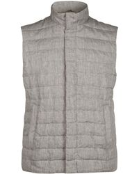 Herno - Down-filled Linen Gilet - Lyst