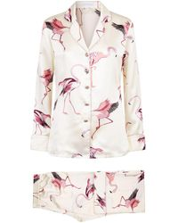 Olivia Von Halle - Silk Lila Peregrine Flamingo Pyjamas - Lyst
