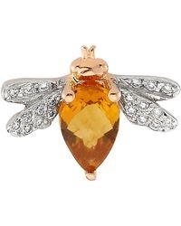 Bee Goddess | Queen Bee Diamond Earring, Yellow, One Size | Lyst