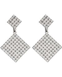 Alessandra Rich - Square Crystal Two Tier Drop Earrings - Lyst
