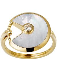 Cartier - Small Yellow Gold And Mother-of-pearl Amulette De Ring - Lyst