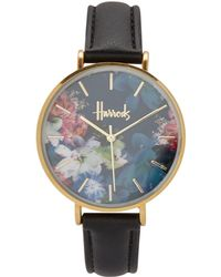 Harrods   Floral Printed Collection Watch, Black   Lyst