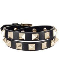 Valentino - Leather Rockstud Double-wrap Bracelet - Lyst