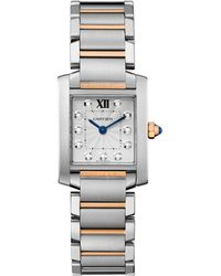 Cartier - Small Stainless Steel And Pink Gold Tank Franaise Watch 20mm - Lyst