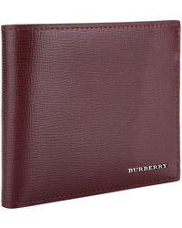 Burberry - Grained Leather Bifold Wallet - Lyst