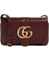 1fb209c668e9 Gucci Arli Medium Leather-trimmed Suede Shoulder Bag - Lyst