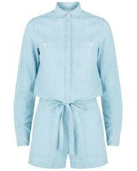 Denim & Supply Ralph Lauren - Cotton-linen Chambray Playsuit - Lyst