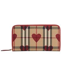 Burberry - Elmore Horseferry Check And Hearts Zip-around Wallet - Lyst