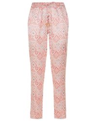 Paloma Blue - Tie Waist Patterned Trousers - Lyst