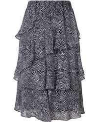 MICHAEL Michael Kors - Feather Print Ruffled Skirt - Lyst