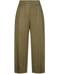 Pleats Please Issey Miyake - Wide-leg Cropped Pleated Trousers - Lyst