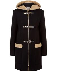 Sandro - Shearling Trim Buckle Coat - Lyst