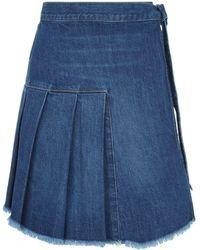 Sandrine Rose - High Waist Pleated Denim Skirt - Lyst