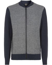 BOSS - Knitted Zip Up Cardigan - Lyst